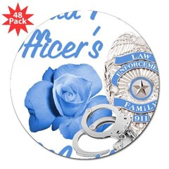 Blue Rose Police Mother Oval 3&quot; Lapel Sticker (48 pk)