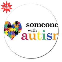 "I HEART Someone with Autism - 3"" Lapel Sticker (48 pk)"