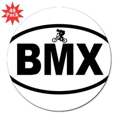 "BMX Rider Oval 3"" Lapel Sticker (48 pk)"