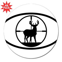 "Hunting Stag Oval 3"" Lapel Sticker (48 pk)"