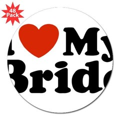 "I Love My Bride Rectangle 3"" Lapel Sticker (48 pk)"