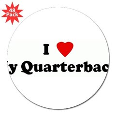 "I Love My Quarterback! 3"" Lapel Sticker (48 pk)"