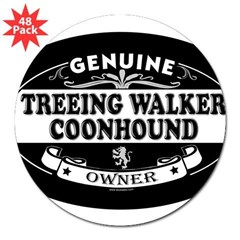 "TREEING WALKER COONHOUND Oval 3"" Lapel Sticker (48 pk)"
