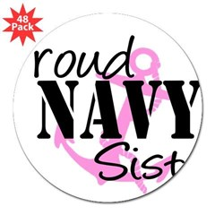 "Proud Navy Sister - Pink Anch Sticker (Rectangular 3"" Lapel Sticker (48 pk)"
