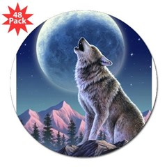 "Howling Wolf 1 Rectangle 3"" Lapel Sticker (48 pk)"