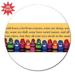 "Peaceful Crayons 3"" Lapel Sticker (48 pk)"