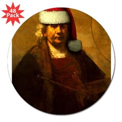 "Rembrandt Santa Rectangle 3"" Lapel Sticker (48 pk)"