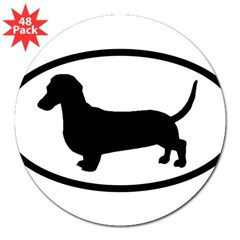 "Dachshund Oval 3"" Lapel Sticker (48 pk)"