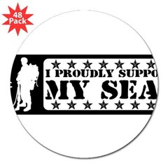 "Proudly Support Seal - NAVY 3"" Lapel Sticker (48 pk)"