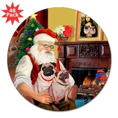 "Santa's fawn Pug pair 3"" Lapel Sticker (48 pk)"