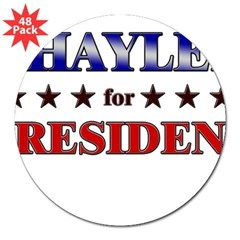 "SHAYLEE for president Rectangle 3"" Lapel Sticker (48 pk)"