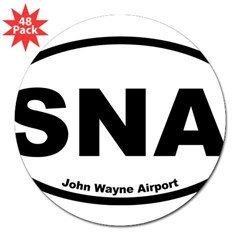 "John Wayne Airport Oval 3"" Lapel Sticker (48 pk)"