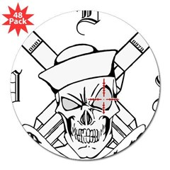 "3-gunskull 3"" Lapel Sticker (48 pk)"