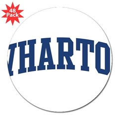 "WHARTON design (blue) 3"" Lapel Sticker (48 pk)"