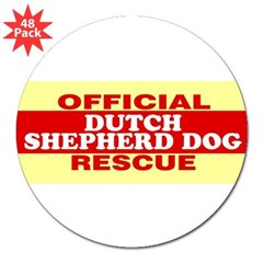 "DUTCH SHEPHERD DOG 3"" Lapel Sticker (48 pk)"