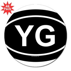 "YG Oval 3"" Lapel Sticker (48 pk)"
