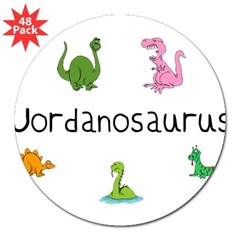 "Jordanosaurus Rectangle 3"" Lapel Sticker (48 pk)"
