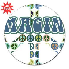 "Retro Peace Sign Imagine Rectangle 3"" Lapel Sticker (48 pk)"