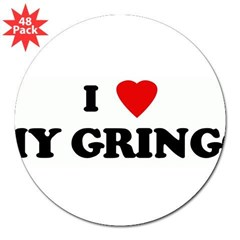 "I Love MY GRINGO 3"" Lapel Sticker (48 pk)"