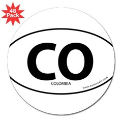 "Colombia country bumper sticker -White (Oval) 3"" Lapel Sticker (48 pk)"
