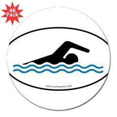 "Swimming Auto Decal -White w/ Blue Water (Oval) 3"" Lapel Sticker (48 pk)"