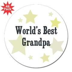 "World's Best Grandpa Rectangle 3"" Lapel Sticker (48 pk)"