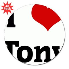 "I Love Tony Rectangle 3"" Lapel Sticker (48 pk)"