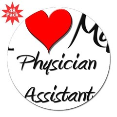 "I Heart My Physician Assistant Sticker (Rectangula 3"" Lapel Sticker (48 pk)"
