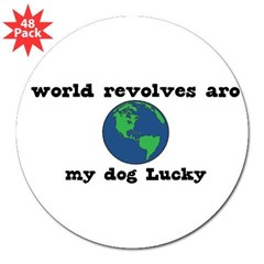 "World Revolves Around Lucky 3"" Lapel Sticker (48 pk)"