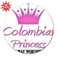 "Colombian Princess Rectangle 3"" Lapel Sticker (48 pk)"