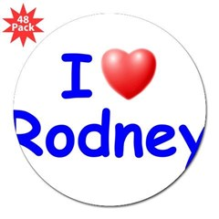 "I Love Rodney (Blue) 3"" Lapel Sticker (48 pk)"