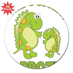 "world's coolest big brother dinosaur 3"" Lapel Sticker (48 pk)"
