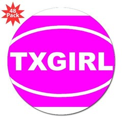 "TX GIRL Pink Euro Oval 3"" Lapel Sticker (48 pk)"