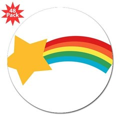 "Retro Shooting Star Rectangle 3"" Lapel Sticker (48 pk)"