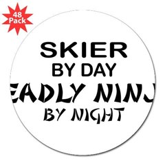 "Skier Deadly Ninja 3"" Lapel Sticker (48 pk)"
