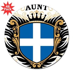 "Number One Greek Aunt Oval 3"" Lapel Sticker (48 pk)"