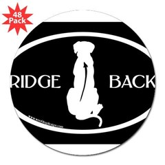 "Ridgeback Oval W/ Text (wh/blk) Oval 3"" Lapel Sticker (48 pk)"