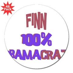 "Finn - 100% Obamacrat Rectangle 3"" Lapel Sticker (48 pk)"