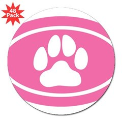 "Pink Paw Print Oval 3"" Lapel Sticker (48 pk)"