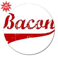 "Bacon (red vintage) 3"" Lapel Sticker (48 pk)"