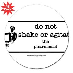 "Do not shake or agitate pharm Rectangle 3"" Lapel Sticker (48 pk)"
