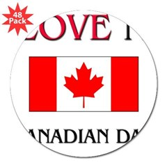 "I Love My Canadian Dad Rectangle 3"" Lapel Sticker (48 pk)"