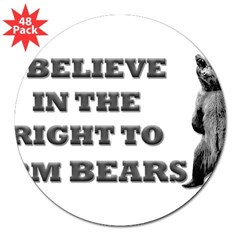 "Right To Arm Bears Rectangle 3"" Lapel Sticker (48 pk)"