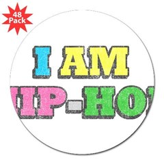 I Am Hip-Hop Rectangle 3&quot; Lapel Sticker (48 pk)