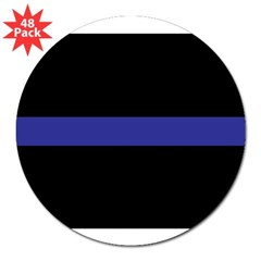 "Thin Blue Line Rectangle 3"" Lapel Sticker (48 pk)"