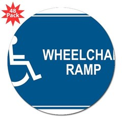 "Wheelchair Ramp Notice Rectangle 3"" Lapel Sticker (48 pk)"