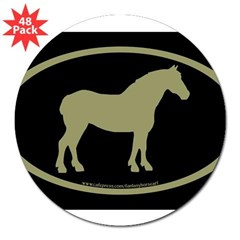 "Draft Horse Oval (sage/blk) Oval 3"" Lapel Sticker (48 pk)"
