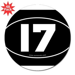 "#17 Euro Bumper Oval Sticker -Black 3"" Lapel Sticker (48 pk)"