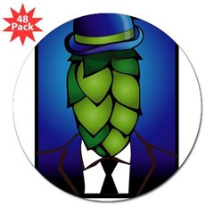 "Hop Head Rectangle 3"" Lapel Sticker (48 pk)"