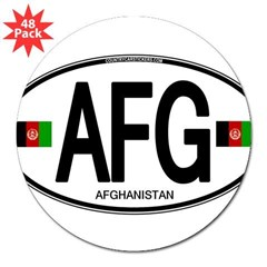 "Afghanistan Euro Oval 3"" Lapel Sticker (48 pk)"